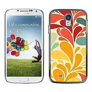 TopCaseStore / la caja del caucho duro de la cubierta de protección de la piel - Flowers Leaves Wallpaper Red Teal - Samsung Galaxy S4 I9500