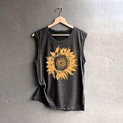 Tank Tops for Womens, FORUU Sleeveless Sunflowe Print Shirt Casual Loose Soft Comfortable