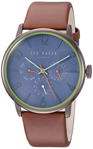 Ted Baker Men's 'JAMES' Quartz Stainless Steel and Leather Casual Watch, Color:Brown (Model: TE15066001)
