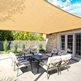 MOVTOTOP Sun Shade Sails 10x13 FT Rectangle, 185 GSM Thicker Outdoor Shade Block 95% UV Keep Cool for Deck, Patio, Pergola, Backyard Outdoor(Sand)