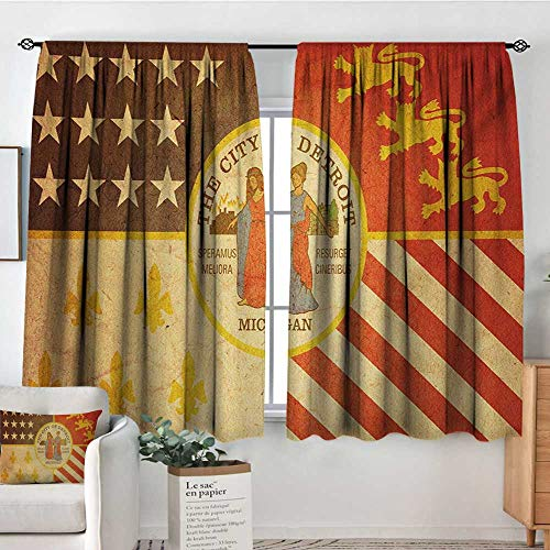 (Mozenou Detroit Custom Curtains Historical Old Symbol of Detroit City Rusty Looking Vintage Symbols Emblem Print Thermal Blackout Curtains 55