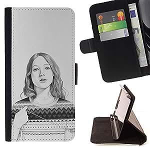 Momo Phone Case / Flip Funda de Cuero Case Cover - Sweater Pencil Drawing Portrait - Samsung Galaxy Note 5 5th N9200