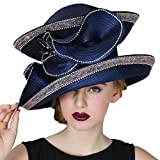 June's Young Women Church Hats Navy Color Elegant lady Party Wear