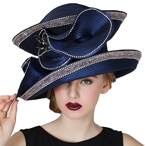 June's Young Women Church Hats Navy Color Elegant lady Party Wear by June's Young