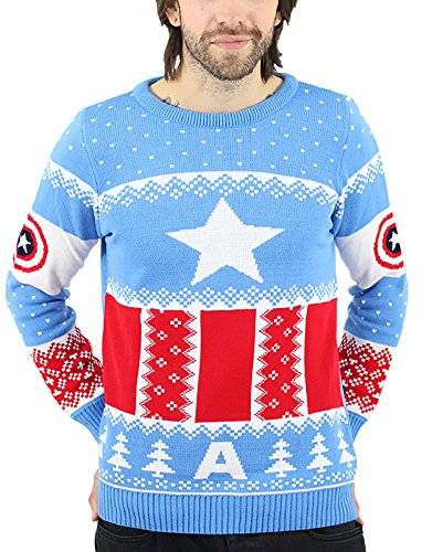 [Captain America Christmas Jumper Costume Uniform Official Marvel Mens Blue] (Captain America Uniform)