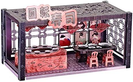 3D Metal Model Kits DIY Assemble Puzzle Architecture Building Toy Sushi Shop