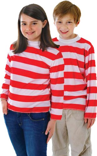 [Extra Large Red & White Striped Boys Costume Top] (Wheres Wally Fancy Dress Kids)