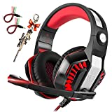 Pro Gaming Headset for PC PS4 Xbox One with Mic Over-Ear Headphones for Laptop Computer Games with Noise Cancelling Stereo 50mm Driver Memory Earmuffs Volume Control Gift for Kids Boy Teens