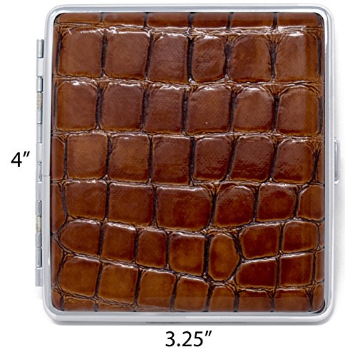 (Brown Crocodile Print Leather (Full Pack – 20 Kings) Metallic Cigarette Case & Stash Box)