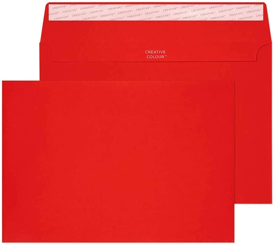 Blake Creative Color, Bright Red Invitation Envelopes, 6 x 9 Inches, Fire Engine Red, 80lb Paper, Peel & Seal (306-76) - Pack of 500