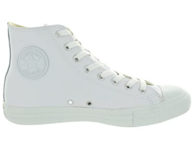 ae988d4f8f4 Amazon.com | Converse Mens Unisex Chuck Taylor All Star Leather Hi Fashion  Sneaker Shoe, White Monochrome, 11 | Fashion Sneakers