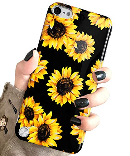 J.west Case for New iPod Touch 7, iPod Touch 6th Generation, iPod Touch 5 Vintage Floral Cute Yellow Sunflowers Clear Soft Cover for Girls/Women Flex Silicone Slim Pattern Design Drop Protective Case (Flower Case 5 Ipod Protective)