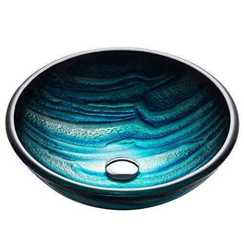 Blown Glass Vessels - Kraus GV-399-19mm Ladon Glass Vessel Bathroom Sink
