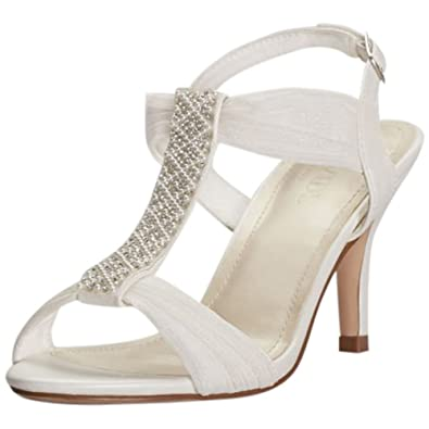 292cd30cd0f4e6 David s Bridal Pearl and Crystal T-Strap Mid-Heels Style ANONO21