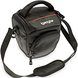 iGadgitz Small Black Water-Resistant Holster Travel Bag Case with Shoulder Strap for Sony E-Mount ILCE-5000 ILCE-5100, ILCE-6000, ILCE-7 ILCE-7M2 ILCE-7R ILCE-7S, NEX-3N, NEX-5T, NEX-6, NEX-7 Cameras