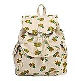 FL Women's Canvas Pineapple Backpack Travel Bag College School Bag Daypack