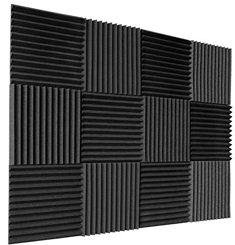 12 Pack Set Acoustic Panels, 2' X 12' X 12' Acoustic Foam Panels, Studio Wedge Tiles, Sound Panels wedges Soundproof Sound Insulation Absorbing