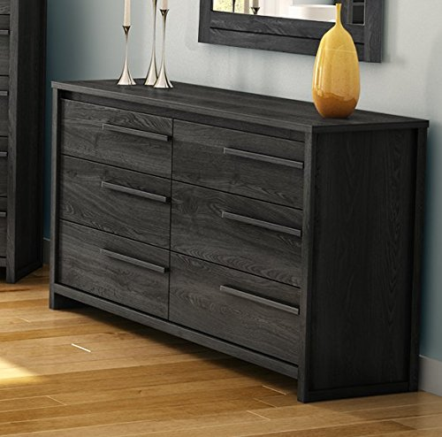 6 Drawer Double Dresser Made of Manufactured Wood in Gray Oak Color Will Bring Charming Feeling in Your Bedroom