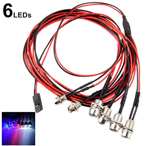 Kalevel Led Light for Rc Trucks Cars 6 LED Rc Car Led Light Kit Rc Truck Led Lights Rc Truck Light Kit Rc Car Headlights Taillight for Truck Rc Car Tank Hsp Tamiya D3 Rc Car Accessories White Red Blue