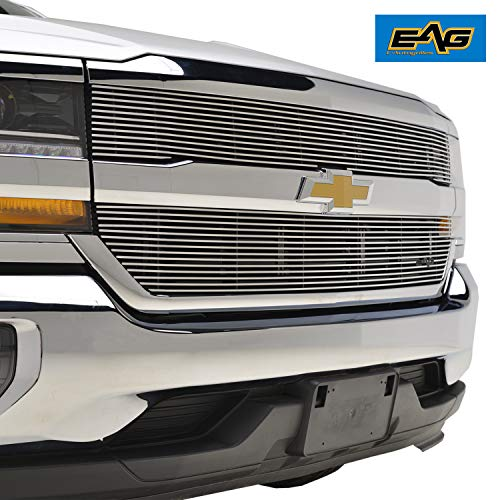 EAG Polished Aluminum Billet Grille Upper Horizontal Overlay 2PCS for 16-18 Chevy Silverado 1500