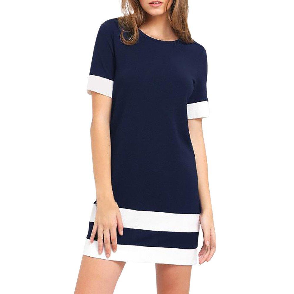 Women's Color Block Stripe Short Sleeve O-Neck Mini Dress Casual Cocktail Club Party T-Shirt Dresses Beach Sundress Navy