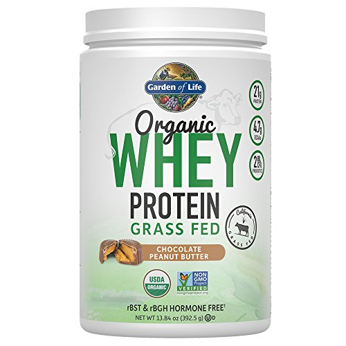 Garden of Life Protein Powder - Organic Whey Protein Powder, Grass Fed, Peanut Butter Chocolate, 13.84 oz (Life Whey Protein)