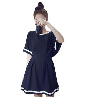 8adac9c9a3eae 春夏 女性 半袖ワンピ ドレス ワンピーコーデ 緩い スカート ネイビー aラインマキシワンピース 可愛い