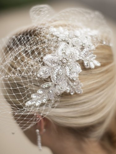 Bold Crystal Ivory Lace Applique Wedding Veil with French Net Birdcage Blusher & Scattered Crystal Edge