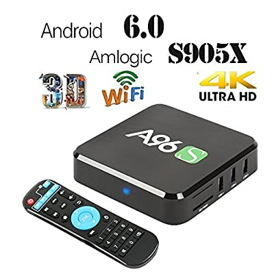 2017 Latest Model WIIKEE A96S Amlogic S905X Quad Core Android TV Box Fully Loaded Add-ons Android 6.0 H.265 4K UHD 3D WiFi 2.4G Unlocked Google Streaming Media Player Set Top TV Box 2G/8G