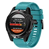 2017 NEW Garmin Fenix 5X GPS Watch Band, ABC® Replacement Silicagel Soft Quick Release Kit Band Strap (Green)