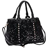 MG Collection NADIE Black Sequined Studded Top Double Handle Office Tote Satchel Shoulder Bag Evening Handbag Convertible Crossbody Bag, Bags Central