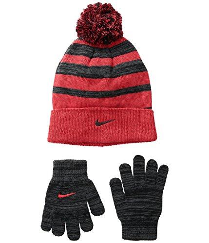Nike Knit Beanie & Gloves Set - university red/anthracite, l / xl