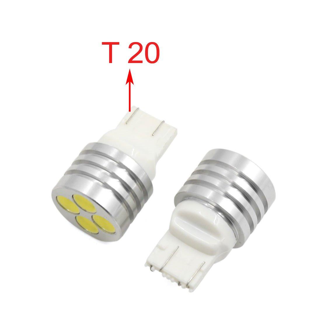 T20 7440 7443 Bianco Caldo 4 LED COB Backup Freno retromarcia Lampadina Luce 6000K sourcing map 2pz