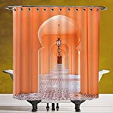 Durable Shower Curtain 3.0 by SCOCICI [ Arabian,Moroccan Walkway with Islamic Motifs and Arabic Artsy Elements Visual Oriental Photo,Orange ] Polyester Fabric Bathroom Shower Curtain