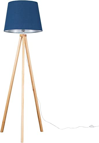 Modern Light Wood Tripod Design Floor Lamp with a Navy Blue