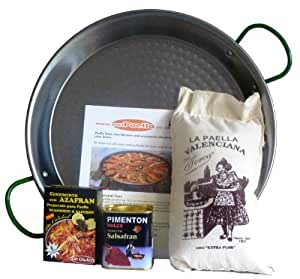 Paella Kit - induction flat bottom pan- polished steel 34cm (3-5portions)