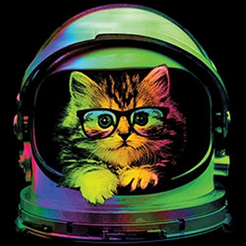 Neon Tank-Top Shirt - Bunte Katze - Kätzchen Astronaut - Achselshirt als humorvolle Geschenk Idee mit Aufdruck Katzenfreunde