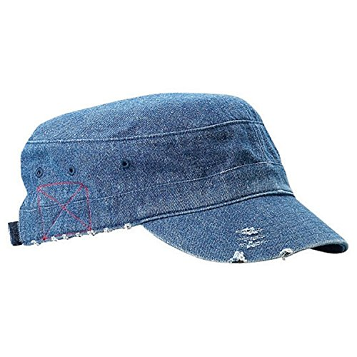 Enzyme Frayed Army Caps - Enzyme Frayed Solid Army Caps-Denim W35S44D