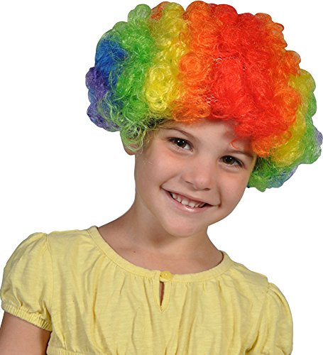 Crazy Hair Rainbow Clown Jester Halloween Costume Wig (Halloween Costumes With Colored Wigs)