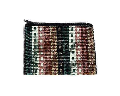 Seed Bead Striped Pattern Coin Purse (Square-Gold/Teal/Peach)
