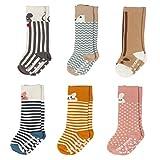 IMISNO Toddler Socks Non Skid Cotton Stockings Animal Theme Knee High Socks For Unisex-Baby Boys&Girls Leg warmmers 6-Pairs (M (2-4years))