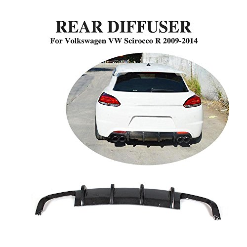JCSPORTLINE Carbon Fiber Rear Diffuser Lip Fit for VW Scirocco R Bumper 2009-2014