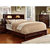 Furniture of America Metro Platform Bed with Bookcase Headboard and Light Design, Queen, Cherry