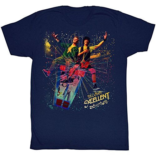2Bhip Bill&Ted's Excellent Adventure SciFi Comedy Movie Trippy Poster Adult T-Shirt Navy