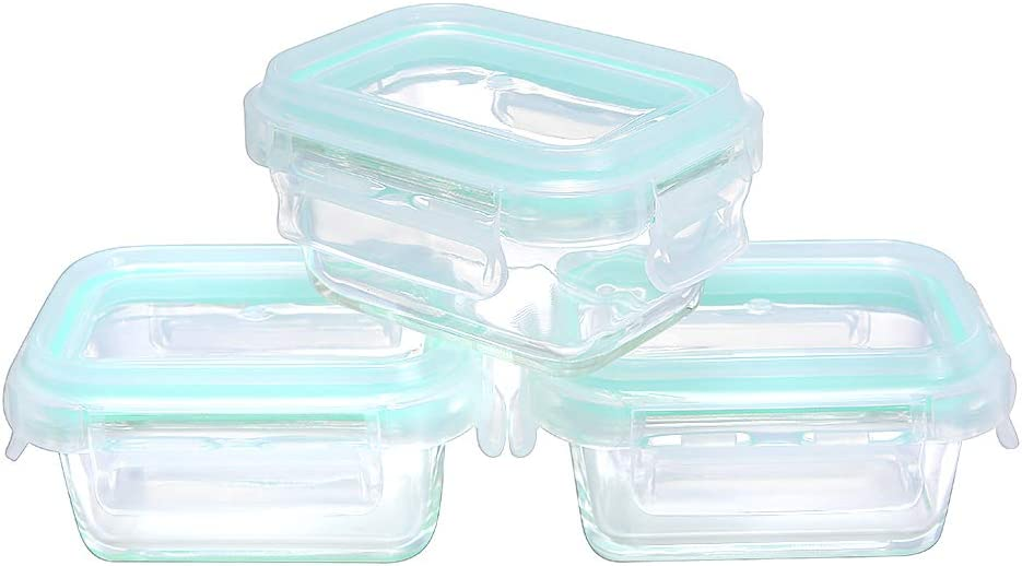HTREN Glass Food Storage Containers with Lids, 4 oz Borosilicate Glass Food Storage Containers, Glass Containers with Lids for Food, 6 Pieces