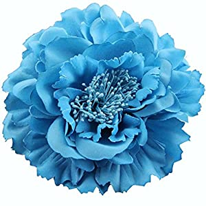 4.75 Inch Big Artificial Fabric Big Peony Flowers Hair Clip and Pin Accessory 8