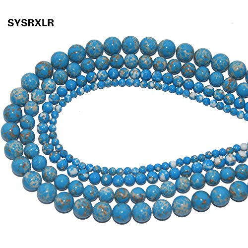 Calvas Wholesale Lake Blue Imperial Turquoises Synthetic Stone Round Beads for Jewelry Making DIY Bracelet Necklace 4/6/8/10 MM Strand - (Item Diameter: 6mm 60pcs Beads)