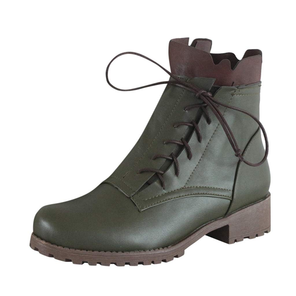 Fashion Ruffle Ankle Booties for Women Ladies Round Toe Non-Slip Low-heeled Side Lace-Up Boots Leaf2you by Leaf2you