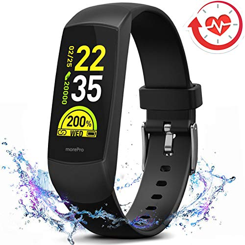 (MorePro HRV Fitness Tracker Heart Rate, Activity Tracker with Blood Oxygen Monitor, Waterproof Pedometer Smart Watch with Sleep Monitor, Step & Calorie Counter for Women Men)