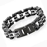 LEADCIN Stainless Steel Mens Bracelet Bike Chain Wide Motorcycle Heavy Bangle Man Jewelry